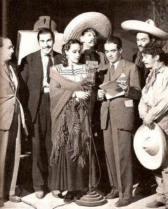 "Emilio Fernandez, Dolores del Río, Pedro Armendariz and the cast of ""Wild Flower"""