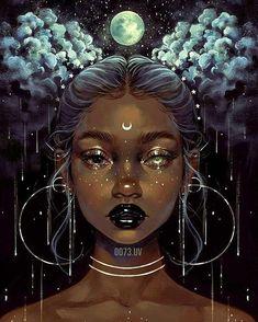 Art Black Love, Black Girl Art, Black Girl Magic, Afrika Tattoos, Art Magique, Black Girl Cartoon, Black Art Pictures, Digital Art Girl, Digital Art Fantasy