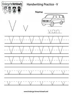Kindergarten Letter V Writing Practice Worksheet Printable Pre K Worksheets, Printable Alphabet Worksheets, Writing Worksheets, Addition Worksheets, Alphabet Tracing, Alphabet Letters, Learn Handwriting, Handwriting Practice Worksheets, Handwriting Analysis