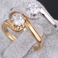 Full Sizes Chic Copper Finger Ring Inlay Shiny White Zircon Jewelry Ring Two Colors