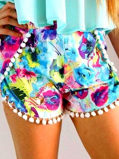 cdd558d1d1ef Brightly Hued Print Pom Deco Shorts - OASAP.com