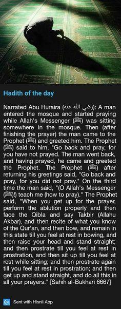 Hadith regarding prayer. Prophet Muhammad Quotes, Hadith Quotes, Quran Quotes, Muslim Quotes, Islamic Prayer, Islamic Teachings, Beautiful Islamic Quotes, Islamic Inspirational Quotes, Islam Hadith