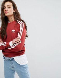 adidas Originals - Sweat-shirt boyfriend à trois bandes - Bordeaux