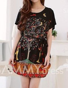 $7.46 Plus Size Scoop Neck Tree Print Figure and Animal Pattern Dress For Women