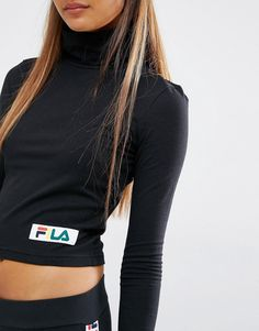 Image 3 of Fila Cropped Roll Neck Long Sleeve Top With Small Multi Coloured…