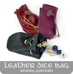 leather dice bag -- free sewing pattern and tutorial