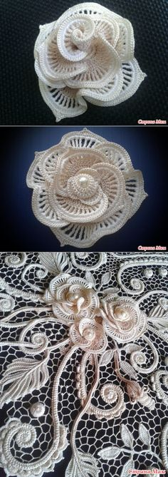 43 New Ideas For Crochet Flowers Easy Pattern Ganchillo Appliques Au Crochet, Crochet Motifs, Freeform Crochet, Crochet Stitches, Irish Crochet Patterns, Crochet Designs, Knitting Patterns, Crochet Flowers, Crochet Lace