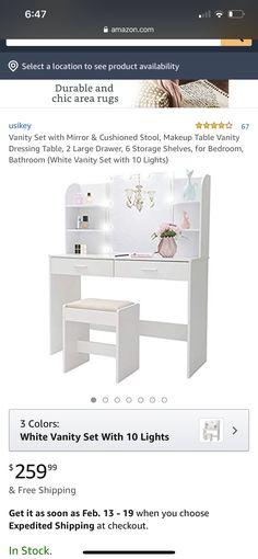 White Vanity Set, Vanity Set With Mirror, White Vanity Bathroom, Makeup Table Vanity, Large Drawers, Dressing Table, Storage Shelves, Area Rugs, Bed