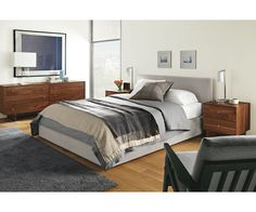 Wyatt Upholstered Storage Bed - Wyatt Bed with Storage Drawer - Beds - Bedroom - Room & Board Full Bed With Storage, King Storage Bed, Storage Beds, Drawer Storage, Ottoman In Living Room, Modern Bedroom Furniture, Modern Bedding, Furniture Layout, Custom Furniture