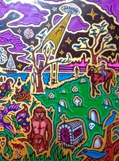 "Artist Vinny Michaud painting on glass ""Cowboy Under a Saucer"". Religious, Creature, Alien, Occult, Portraits & space Art by Vincent Michaud.  http://www.vincentmichaud.vision/painting/"
