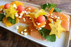Fruit Salad With Citrus Orange Mint Starfruit Mint Lemon Honey Feta
