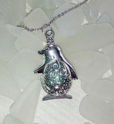 Penguin locket. Penguin Necklace. Aqua Seaglass necklace.
