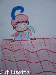 Teken Piet die over het dak gluurt met stift. Kleur in met potlood.
