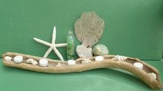 Candle Holder Driftwood Beach Shells and Coral Accents Beach Wedding or Gift