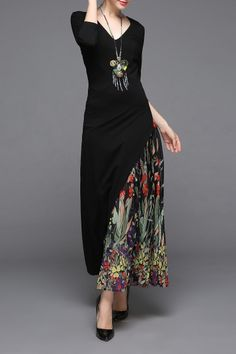 Ziyi Black V-Neck Print Patched Dress | Maxi Dresses at DEZZAL