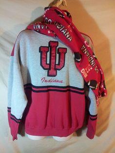 VINTAGE Indiana University Hoosiers IU Sweater + Fleece IU Football Scarf! XL #Midwest #IndianaHoosiers