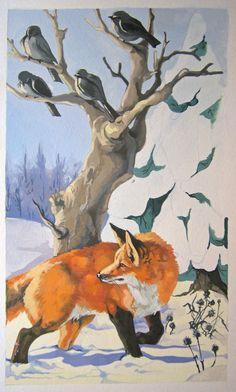 fox with birds