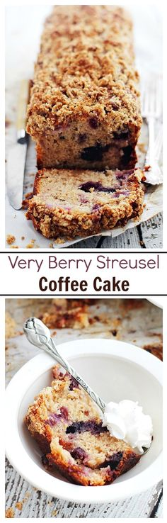 Very Berry Coffee Cake - Tender and moist Coffee Cake made with yogurt, loaded with strawberries and blueberries, and topped with a crumbly streusel.