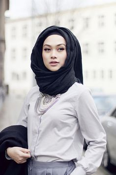 Indah Nada Puspita | The Statement Necklace against the Grey | #Hijab #hijabifashion | https://www.facebook.com/hijabibrides