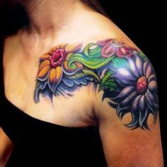 Image result for bold bright flower tattoo