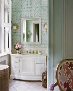 "Lovely bathroom from ""Tom Scheerer Decorates"". Wallpaper is his  Lyford Trellis for Quadrille."