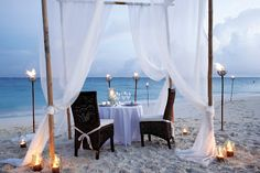 Somerset on Grace Bay, Turks and Caicos, intimate beach meal at dusk