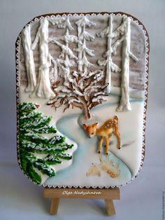 """Купить Пряничная открытка """"Олененок"""" - разноцветный, Новый Год, олень, подарок на новый год, новогодний подарок"""