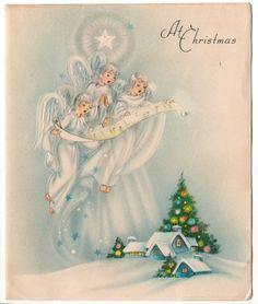 Vintage Christmas Art Deco Angels Card