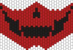 Red Skull Mask Kandi Pattern Kandi Mask Patterns, Pony Bead Patterns, Peyote Patterns, Beading Patterns, Crochet Skull, Crochet Faces, Pony Bead Bracelets, Kandi Cuff, Beaded Banners