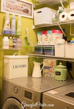 Laundry Room Organization - Graceful Order baskets on wall for cleaning stuff