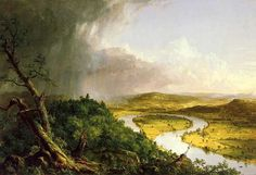 Hudson River School ~ Thomas Cole ~ View from Mount Holyoke, Northampton, Massachusetts, after a Thunderstorm ~ 1836 ~ Olieverf op doek ~ x 193 cm. ~ The Metropolitan Museum of Art, New York New York Images, Landscape Art, Landscape Paintings, Contemporary Landscape, Landscape Photography, Ireland Landscape, Landscape Pictures, Hudson River School Paintings, Alfons Mucha