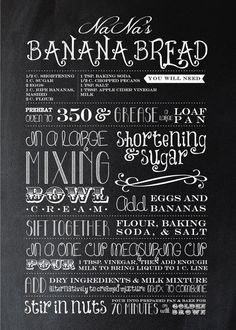 Custom Recipe Typography - Banana Bread