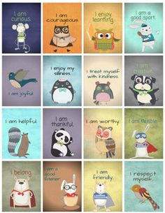 Positive Affirmation Brag Tags & Self-Esteem Cards: Teachi