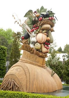 Giant food people in NYC Botanical Garden (Arcimboldo sculptures)