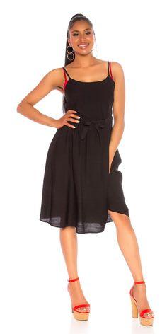 STRAP Φόρεμα WITH WAISTBAND Χρώμα: Μαύρο Σύνθεση: 95% VISCOSE , 5% POLYESTER Cold Shoulder Dress, Dresses, Fashion, Vestidos, Moda, Fashion Styles, Dress, Fashion Illustrations, Gown