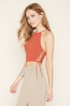 Lace-Up Cropped Cami Cropped Cami, Latest Trends, Fashion Inspiration, Forever 21, Camisole Top, Lace Up, Tank Tops, Tees, Shopping