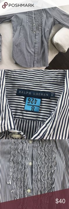 Ralph Lauren Button Down Ralph Lauren stripped button down with ruffle front! Just dry cleaned. Size 12 Ralph Lauren Tops Button Down Shirts