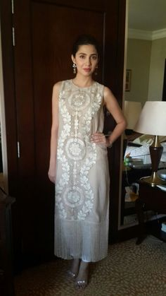 Mahira Khan in Umaima Mustafa fringe embroidered kurta S/S15 and Outhouse earrings