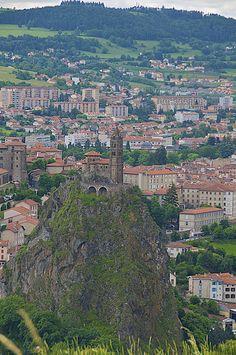 view of the monastery in Le Puy en Velay, Haute-Loire, Auvergene, France