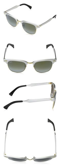 e09c46bf2daff8  171.46 - Ray-Ban Clubmaster Aluminum - Brushed Silver Frame Green Flash  Gradient Lenses 51mm Non-Polarized  rayban