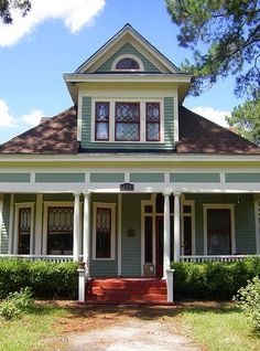 Love the colors, shapes, leaded glass, gable, porch. Vanishing South Georgia Boston Thomas County GA Arts and Crafts Era Architecture Home House Photograph Image Copyright Brian Brown Logan House, American Craftsman, Craftsman Style Homes, Humble Abode, House Painting, My Dream Home, Old Houses, Home Art, Home Crafts