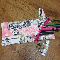 Pencil case-pencil bag-pencil pouch-zippered pencil bag-make up brush case-paris print