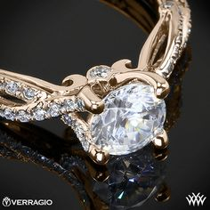ever so romantic 18k Rose Gold Verragio 4 Prong Twisted Shank Diamond Engagement Ring from the Verragio Insignia Collection.