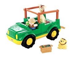 "Fisher-Price Little People Zoo Talkers Animal Sounds Safari Truck by Fisher-Price. $22.19. Place Eddie into the Driver's seat and press down for fun sound effects and music. Includes 2 ""Zoo Talkers"" animals that are compatible with Little People's Zoo Talkers Animal Sounds Zoo. This detailed vehicle has a flip-down back door with room for plenty of animals in the back. Also comes with a food bin for feeding play. Get ready for animal adventures with the Animal Sounds Safari Truc..."