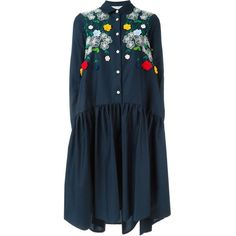 Vivetta Oversized Embroidered Pleated Shirt Dress ($586) ❤ liked on Polyvore featuring dresses, blue, pleated dress, vivetta dress, blue cotton dress, blue shirt dress and pleated shirt dress