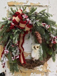Christmas Wreath Holiday Wreath Owl Wreath Etsy by FlowerPowerOhio