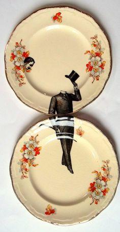 Victorian man decorative plate set surreal by alijoedesigns