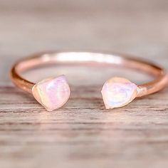 Raw Opals and Rose Gold Ring || Available in our 'Mermaid' Collection || www.indieandharper.com