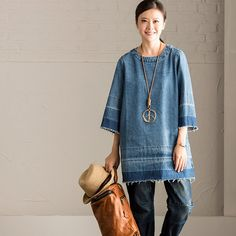 Art Simply Casual Denim Shirt Cowboy Top Women Clothes C5072A