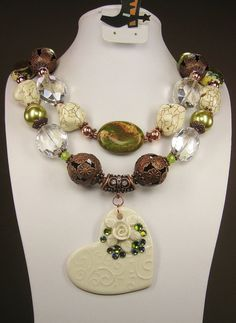 """Sarasota"" cowgirl necklace - GREEN / CREAMY WHITE / Copper / Ceramic - www.CayaCowgirlCreations.etsy.com - $62.00"